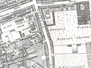 Horwood's Map of 1792 - 110 Bunhill Row is bottom left.