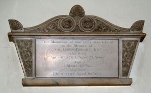 Memorial tablet to Sir James Esdaile & his wife Mary in Upminster Church