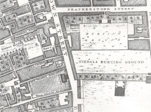 Roque's map of 1746 - Peter Esdaile's house on Bunhill Row.