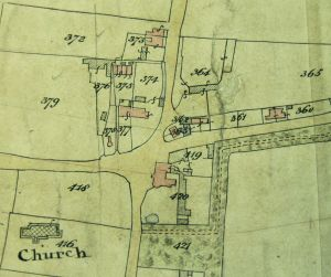 Thomas Wilson's house, carpenter's shop & yard is 376 on the 1842 Tithe map (TNA)