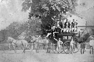 Upminster Cricket Club team outing, early 1860s - outside Wilson's premises (pic: LB Havering Local Studies)
