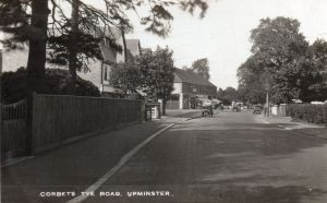 New shopping parade in Corbets Tey Road & Hoppy Hall on left, early 1930s
